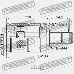 1911-E53LH Febest INNER JOINT LEFT 26X44X27 for BMW 31607565313