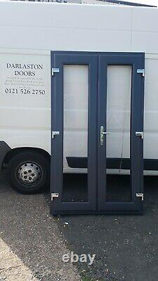 Anthracite Grey On White Upvc French Doors 1500mm X 2100mm With CILL Open In/out