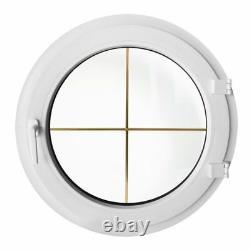 Fenêtre ronde à la française avec croisillons 550 600 700 800 900 1000 mm Blanc