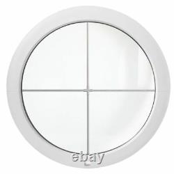 Fenêtre ronde fixe avec croisillons 500 550 600 650 700 800 900 1000 PVC Blanc