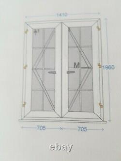 French Doors 1410 X 1960 No CILL With 2 X White Handles And Georgian Bar Glass