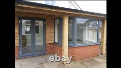 Grey Or Grey On White Upvc French / Patio Door With Glass Free Delivery