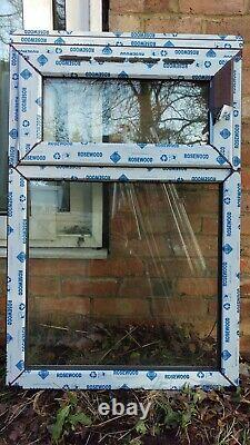 New White UPVC and Rosewood Window 755 x 1105 (+35 mm Add-on) A-Rated