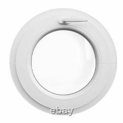 Round white uPVC window TILT 550 mm with textured glass Altdeutsch K