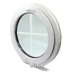 UPVC-Window Round circular double glazed VEKA-with georgian bar-handle on top