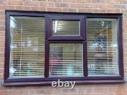 Upvc windows double glazed made to measure rosewood on white windows