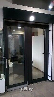 Veka Fenster Terasse Tür inkl. Außenjalousie Raffstores C-Lamellen Anthrazitgrau
