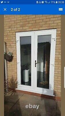 WHITE UPVC FRENCH DOORS 1500MM X 2100MM WITH 2 x HANDLES OPEN OUT WITH CILL