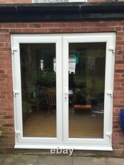 WHITE UPVC FRENCH DOORS CLEAR GLASS 1200mm x 2100mm LOW ALLY THRESH + STUB CILL