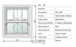 White UPVC Vertical Sliding Windows (Available Immediately) No Lead Times