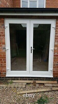 White Upvc French Doors With Glass Any Size Available 1200mm X 2100mm With CILL