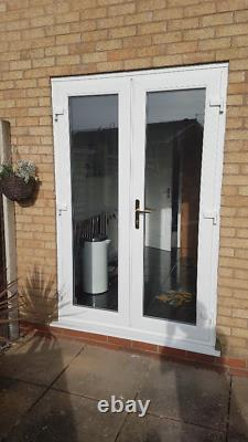 White Upvc French Doors With Glass Any Size Available 1500mm X 2100mm With CILL